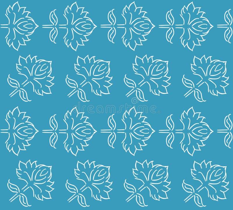 与种族样式手拉的叶子元素的幻想花卉无缝的样式,白色在蓝色,传染媒介例证 皇族释放例证