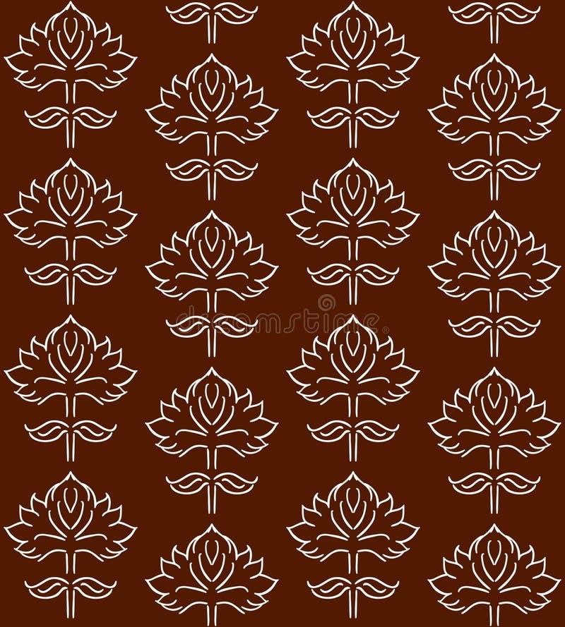 与种族样式手拉的叶子元素的幻想花卉无缝的样式,白色在褐色,传染媒介例证 库存例证