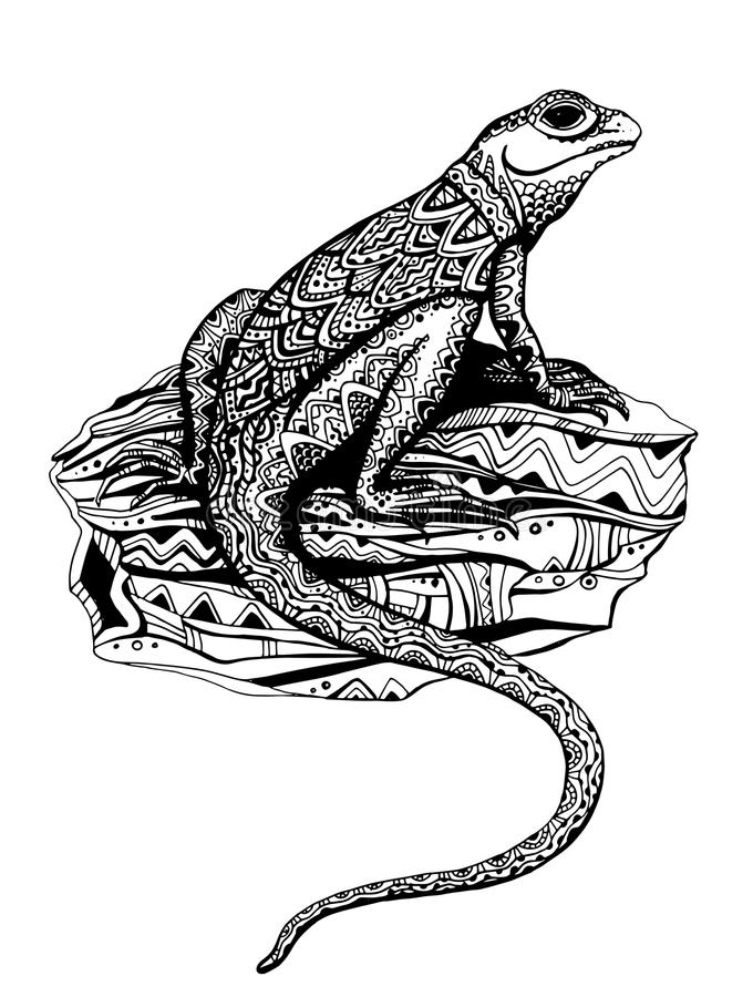 与种族样式的华丽蜥蜴在黑白图表猪圈 皇族释放例证