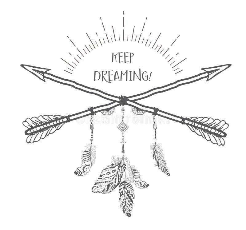 与种族箭头和羽毛的Boho样式 库存例证