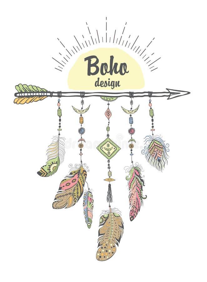 与种族箭头和羽毛的Boho样式 向量例证
