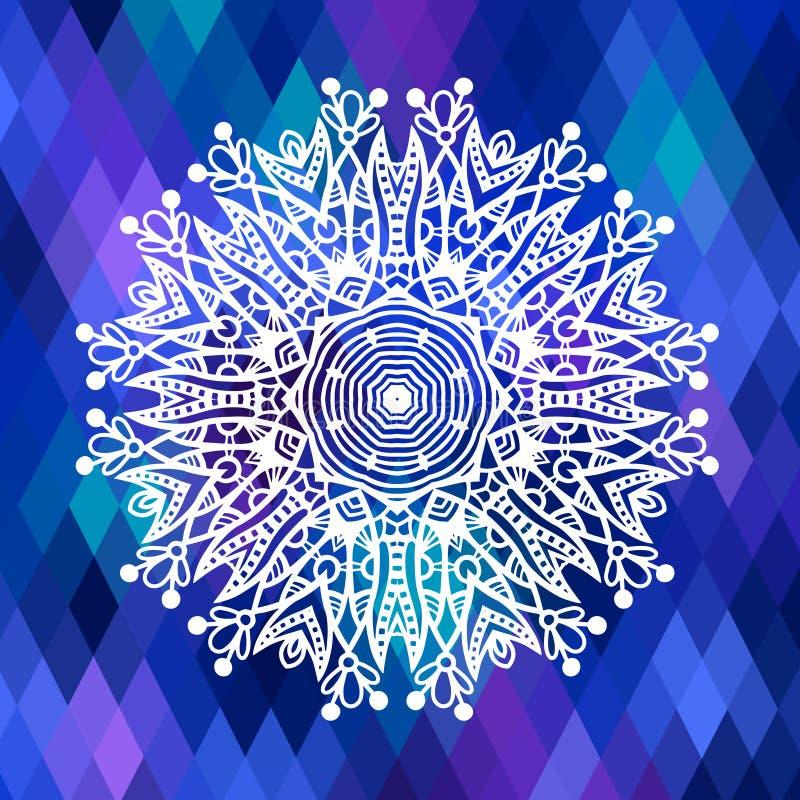 与种族花的方形的几何构成 向量例证