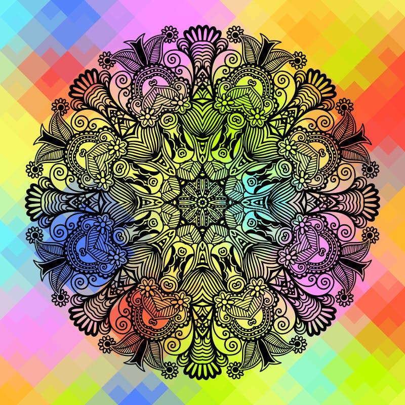 与种族花的方形的几何构成 库存例证