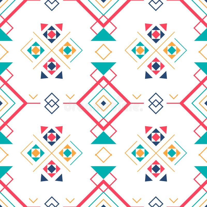 与种族装饰品的几何无缝的样式 ethno阿兹台克抽象背景 向量例证