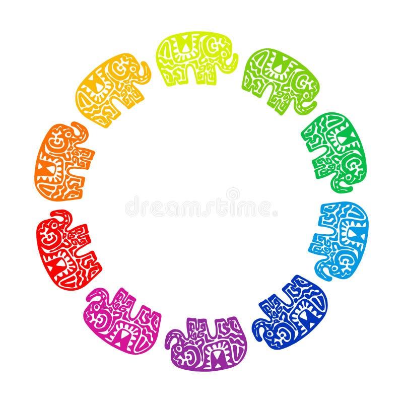 与种族装饰品的卡片印度象 您的文本横幅模板的圆的花圈框架构成 彩虹红色橙色yello 向量例证