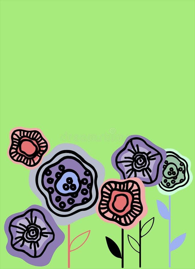 与种植抽象花的传染媒介背景 介绍的模板,横幅,飞行物,邀请,形式,便条 皇族释放例证