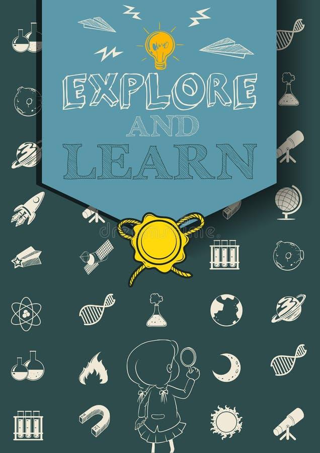 与科学标志的教育海报 皇族释放例证