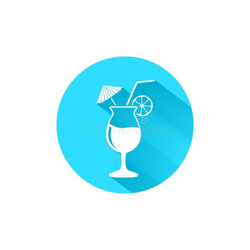 与秸杆和柠檬蓝色传染媒介象的鸡尾酒杯 E ?? 皇族释放例证