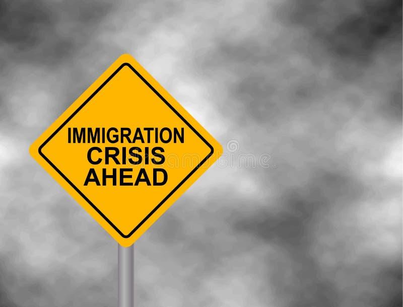 与移民在灰色天空背景隔绝的前面危机消息的黄色路标 黄色危险警报信号 传染媒介illus 库存例证