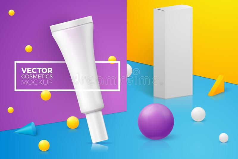 与稀薄的奶油色管的传染媒介3d现实场面 向量例证