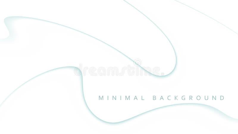 与稀薄的弯曲的线的最小的白色背景 简单的向量图形 向量例证