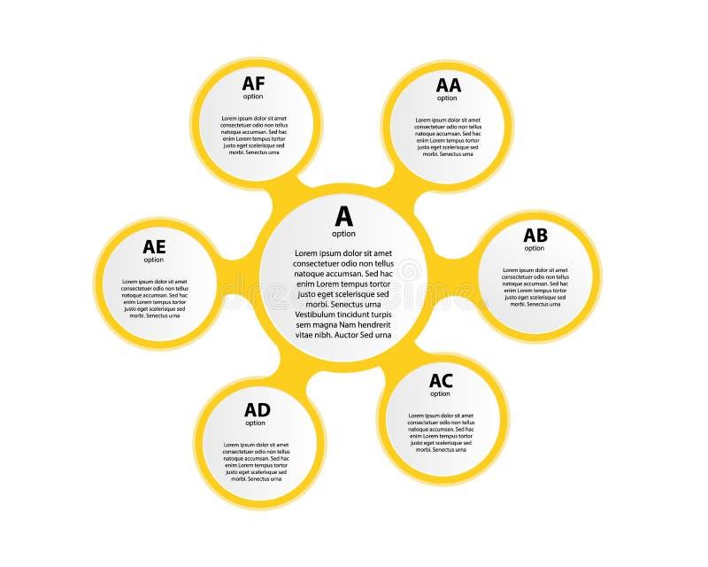 与稀薄的线在中央圈子附近里面被安置的象的六个多彩多姿的圆的元素 与6个选择概念的周期图 库存例证