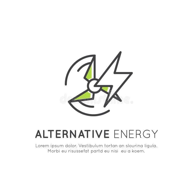 与稀薄的线环境,可再造能源,能承受的技术,回收,生态解答象的商标模板  向量例证