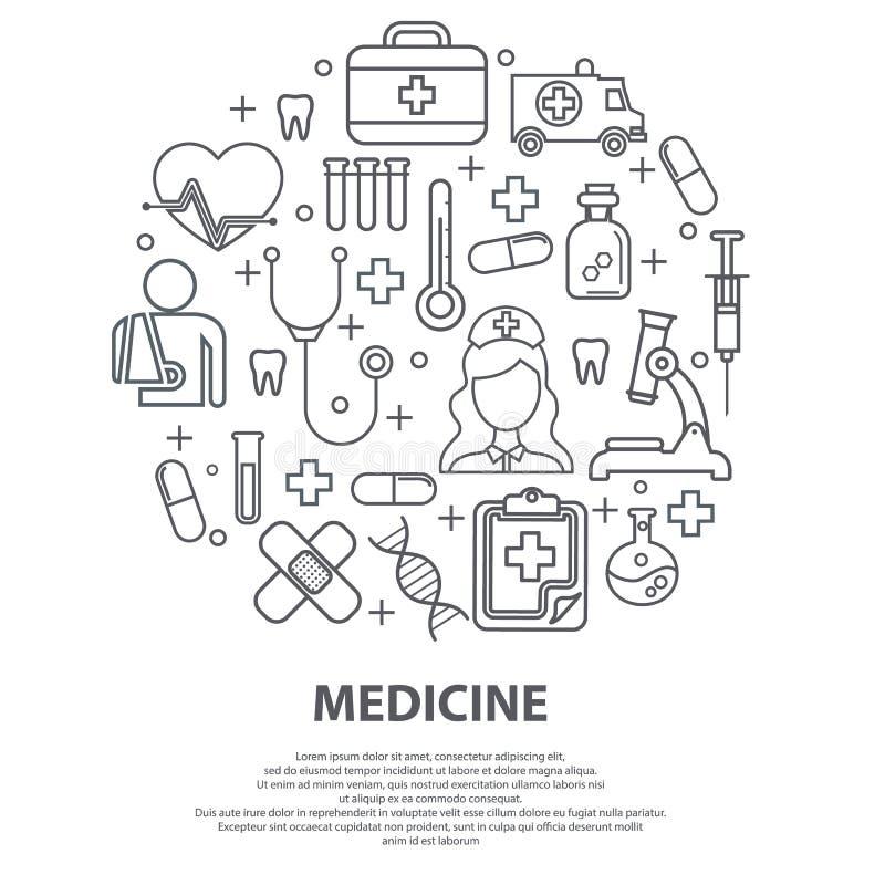 与稀薄的线象的医疗保健概念与医院,诊所,实验室有关 结论的传染媒介例证 向量例证