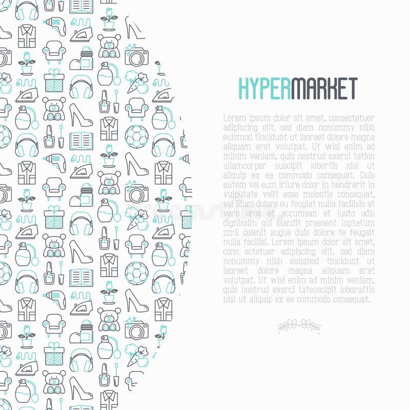 与稀薄的线象的大型超级市场概念 库存例证