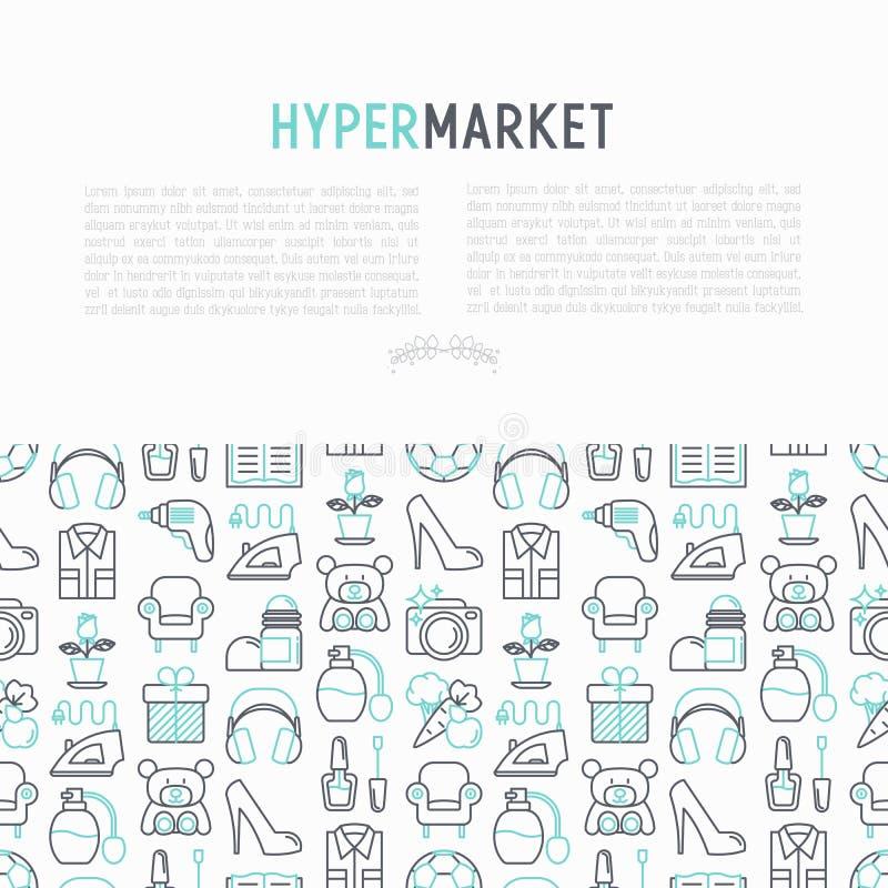 与稀薄的线象的大型超级市场概念 向量例证