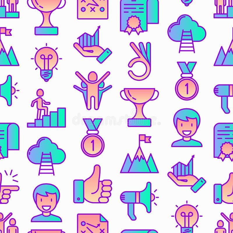 与稀薄的线象的成功无缝的样式:战利品,想法,山峰,事业,手提式扬声机,战略,梯子,优胜者,奖牌, 皇族释放例证