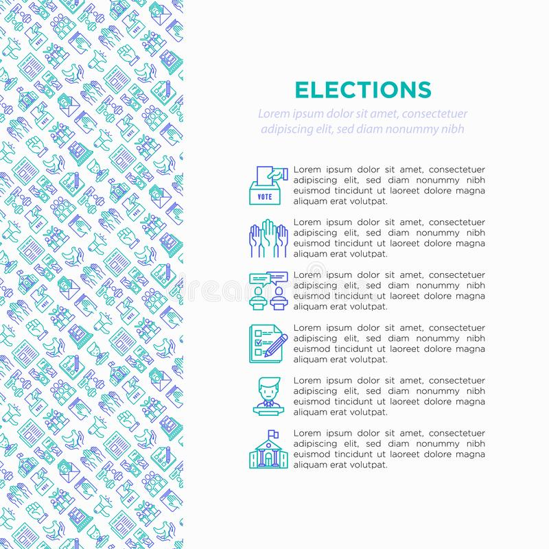 与稀薄的线象的竞选和投票概念 皇族释放例证