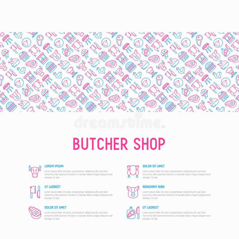 与稀薄的线象的肉店工作概念:肉牛排,牛肉,猪肉,羊肉,BBQ,鸡,汉堡,切板,肉刀子 向量例证
