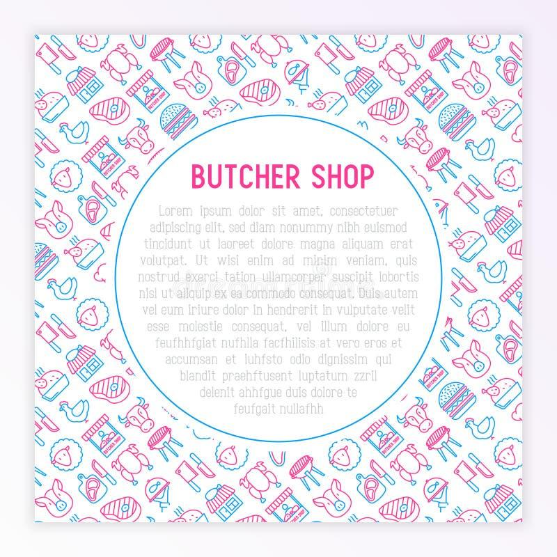 与稀薄的线象的肉店工作概念 向量例证
