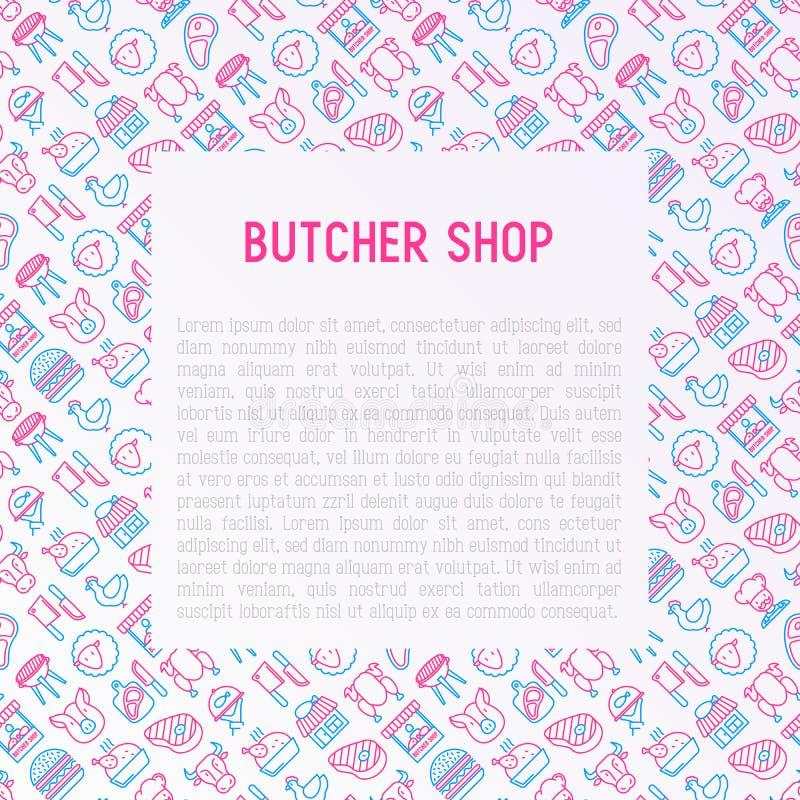 与稀薄的线象的肉店工作概念 库存例证
