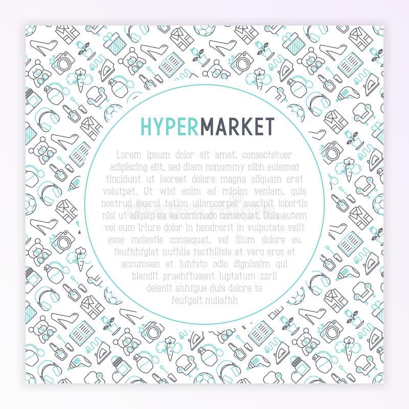 与稀薄的线象集合的大型超级市场概念:服装,运动器材,电子,香料厂,化妆用品,玩具,食物,装置 皇族释放例证
