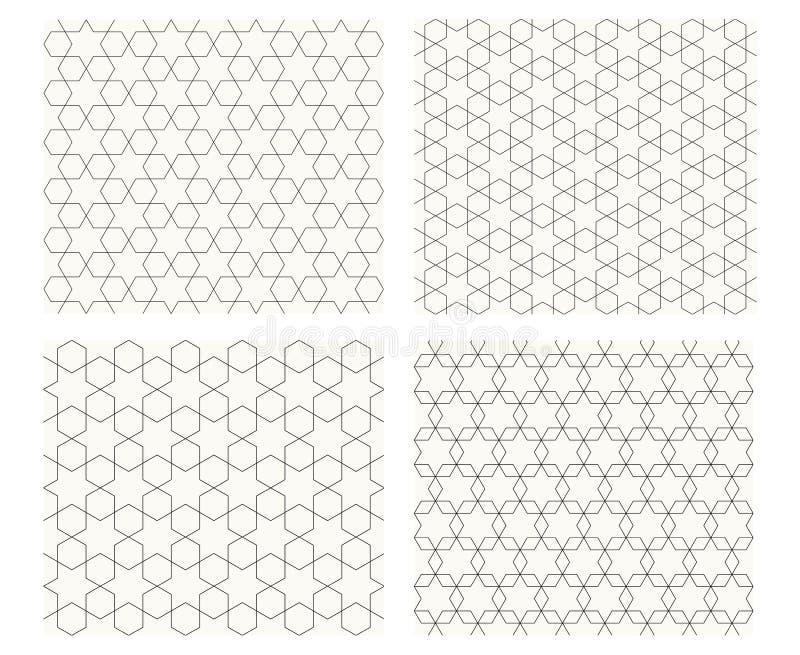 与稀薄的线,传染媒介的无缝的几何样式 库存例证