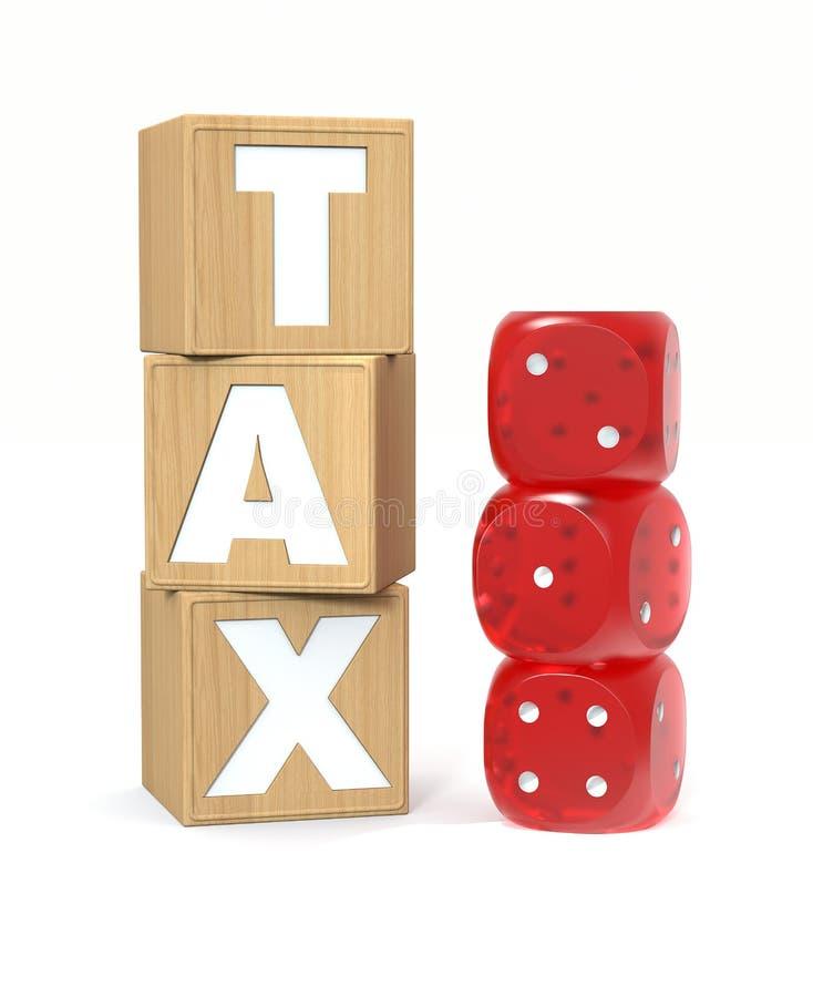 与税信件和赌博的木块切成小方块 税作为抽奖概念 3d翻译 库存例证