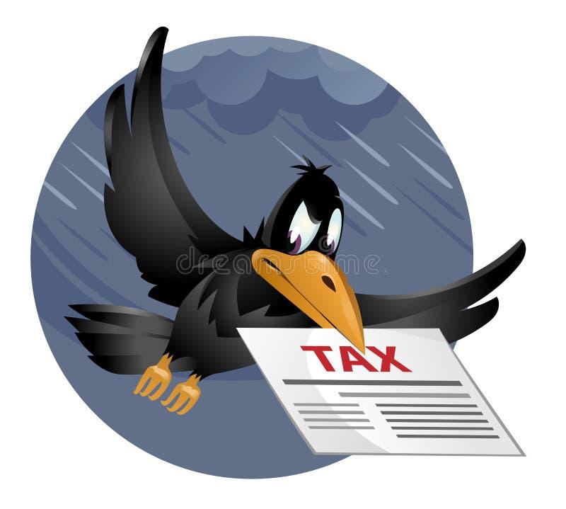 与税信件的飞行的乌鸦反对多雨天空 免版税库存照片