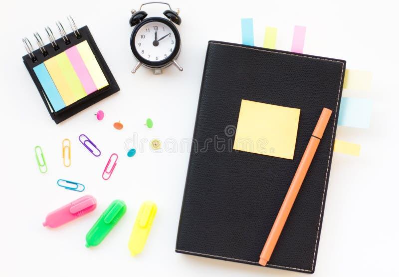 与稠粘的笔记的笔记薄 图库摄影