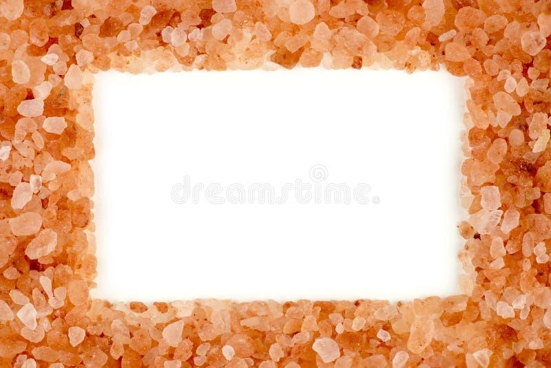 与空中白色copyspace的时髦的喜马拉雅岩盐框架 库存图片