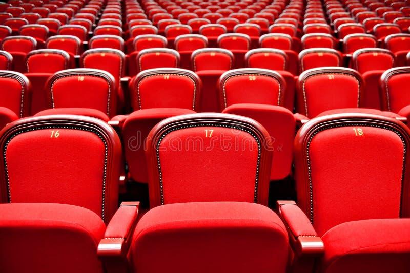 与空位的行在剧院 免版税库存照片