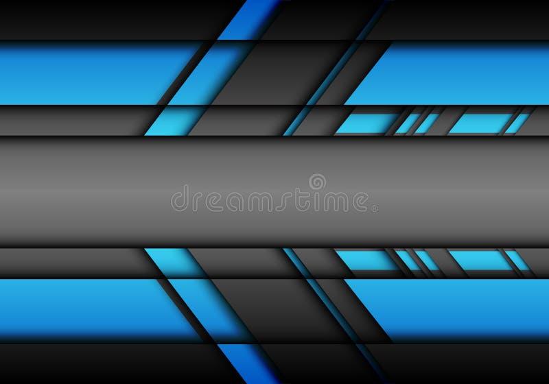 与空白中心设计现代技术背景传染媒介的抽象蓝灰色未来派箭头 库存例证