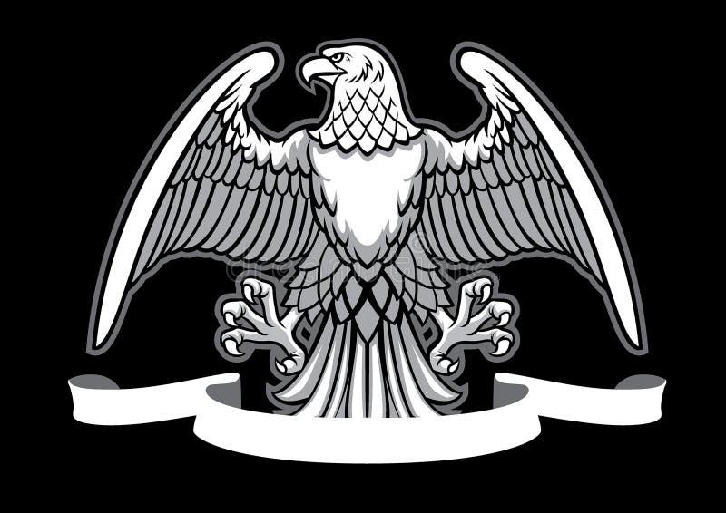 与空白的丝带的老鹰纹章 向量例证