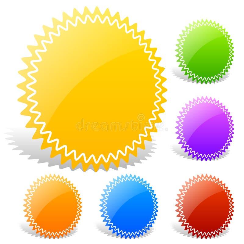 与空白的五颜六色的光滑的徽章形状 皇族释放例证