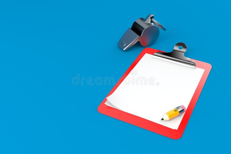 与空白的剪贴板的口哨 库存例证