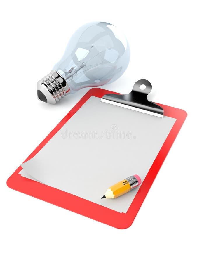 与空白的剪贴板的电灯泡 向量例证