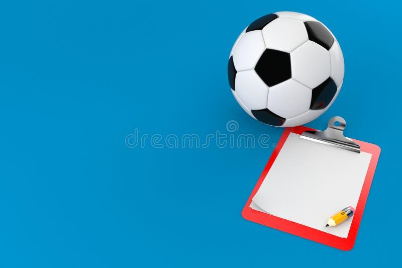 与空白的剪贴板的足球 皇族释放例证