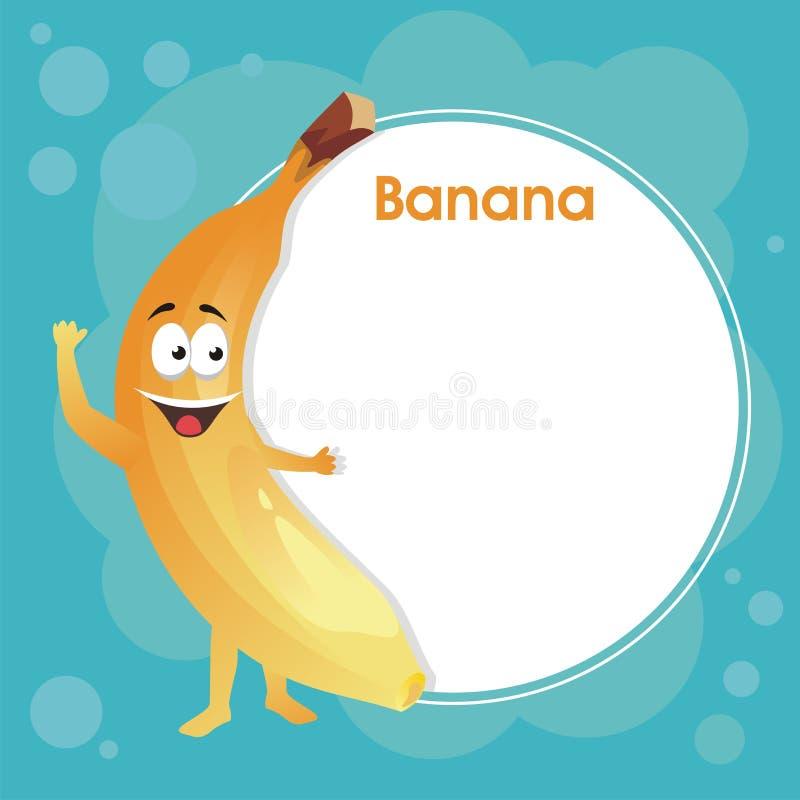与空白的区域的逗人喜爱的香蕉文本的 向量例证