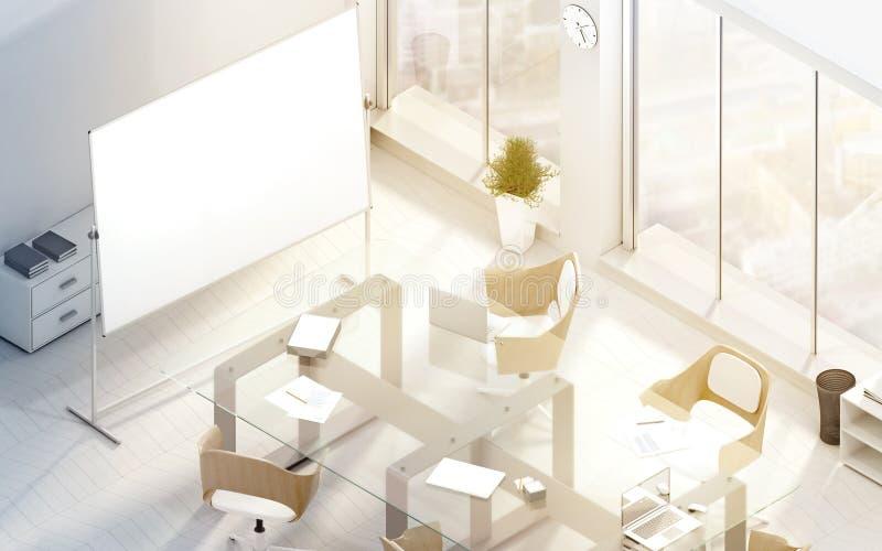 与空白的委员会立场的明亮的现代会议室大模型 图库摄影