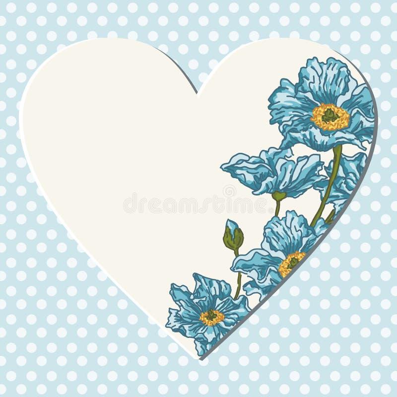 与空白的心脏和花的蓝色背景 库存例证