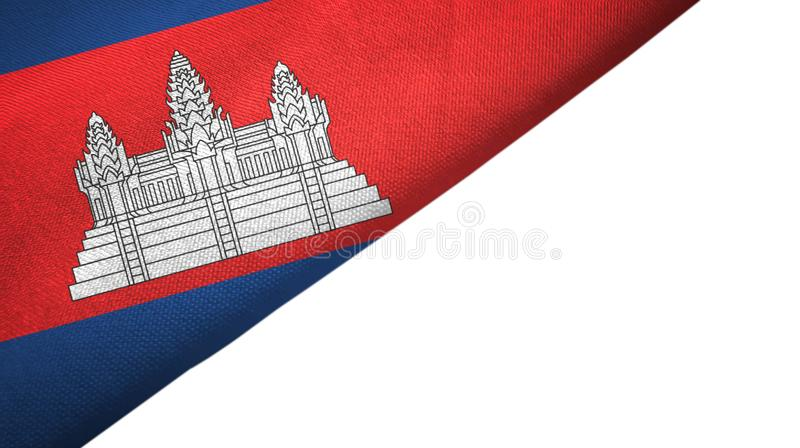 与空白的拷贝空间的柬埔寨旗子左边 皇族释放例证