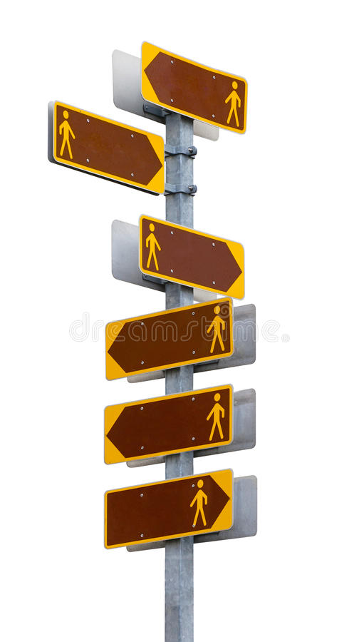 与空白的方向板材的多向路标。 免版税库存照片