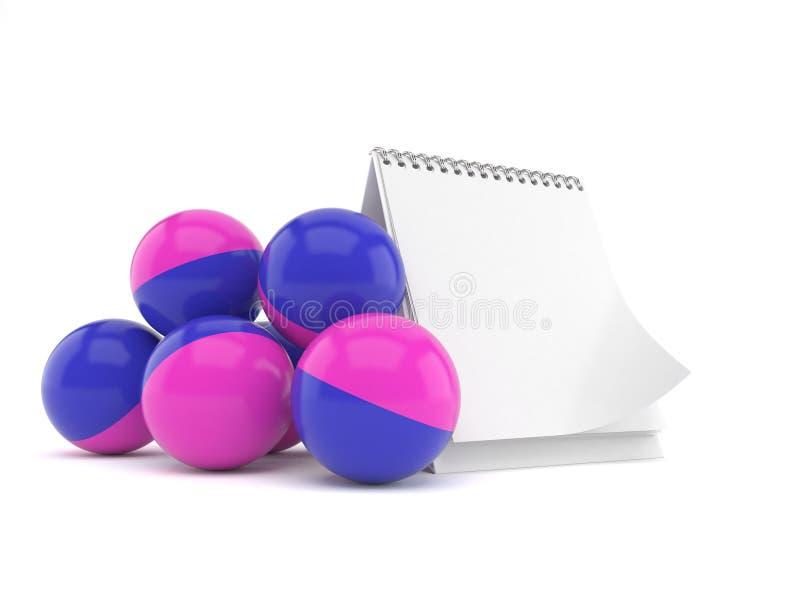 与空白的日历的迷彩漆弹运动球 库存例证