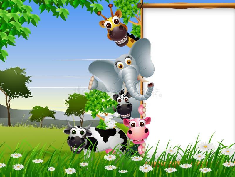 与空白的标志和热带森林背景的滑稽的动物动画片收藏 库存例证