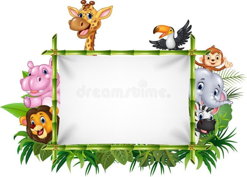 与空白的标志的动画片滑稽的非洲动物 皇族释放例证