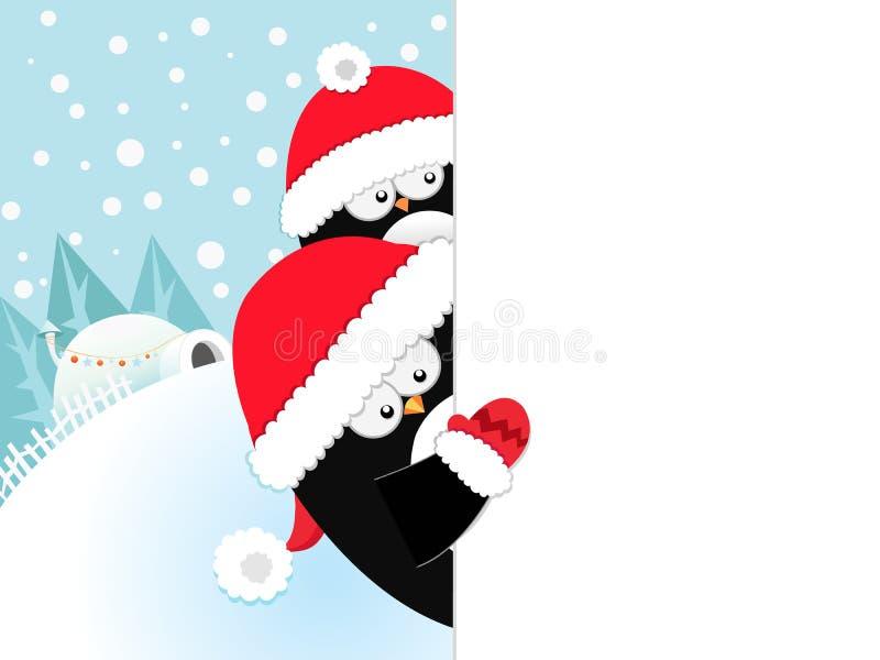 与空白的标志的圣诞节企鹅 向量例证