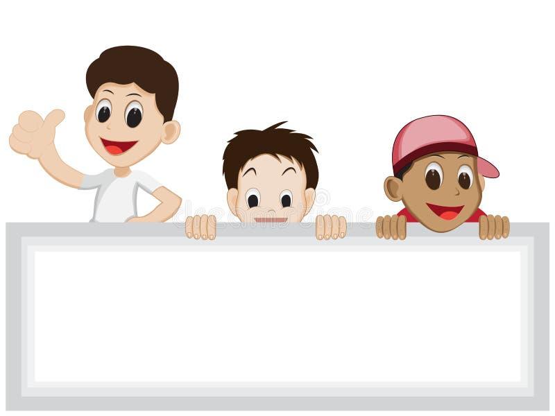 与空白的标志的孩子动画片 免版税图库摄影