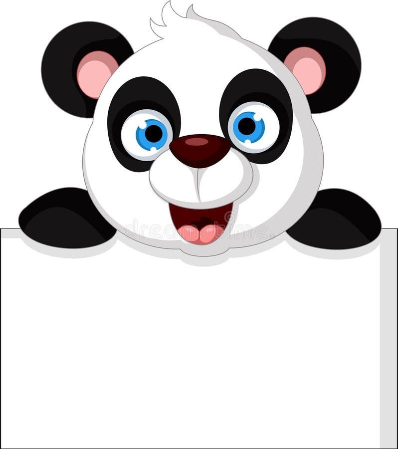 与空白的标志的愉快的熊猫动画片 库存例证