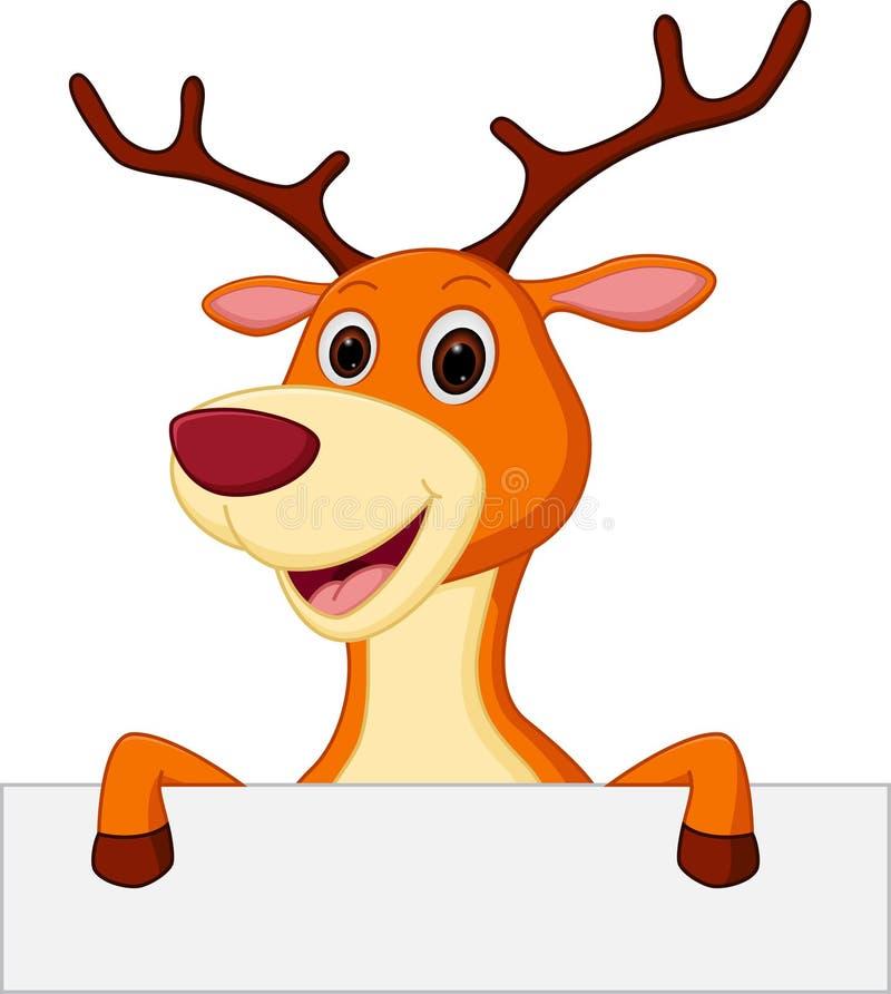 与空白的标志的愉快的鹿动画片 皇族释放例证